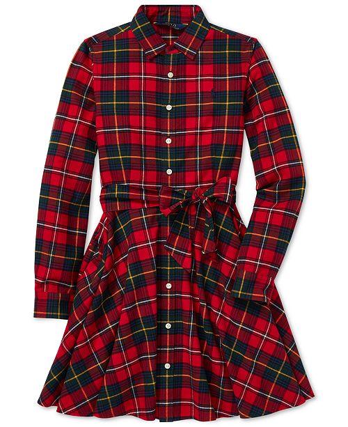 49c72af491e Polo Ralph Lauren Big Girls Plaid Flannel Cotton Shirtdress ...