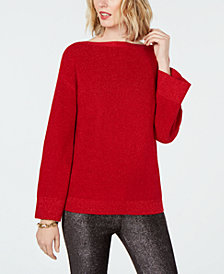MICHAEL Michael Kors Metallic Flare-Sleeve Sweater