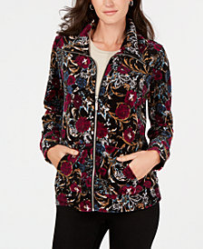 Karen Scott Petite Velour Floral Jacket, Created for Macy's