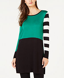 Alfani Colorblocked Stripe Tunic Sweater, Created for Macy's