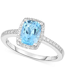 Blue Topaz (1-1/2 ct. t.w.) & Diamond (1/8 ct. t.w.) Ring in 14k White Gold (Also in Rhodolite Garnet, Peridot & Amethyst)