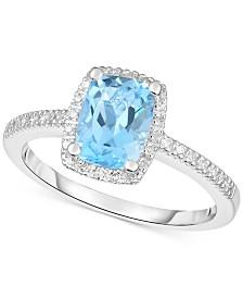 Amethyst (1-1/4 ct. t.w.) & Diamond (1/8 ct. t.w.) Ring in 14k White Gold (Also in Rhodolite Garnet, Blue Topaz & Peridot)