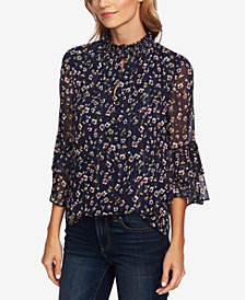CeCe Printed Ruffle-Sleeve Blouse