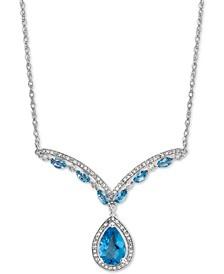 "Blue Topaz (2-1/6 ct. t.w.) & Diamond (1/3 ct. t.w.) 17"" Statement Necklace in 14k White Gold"