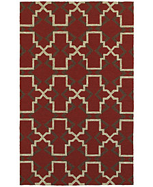 """Tommy Bahama Home  Atrium Indoor/Outdoor 51103 Red/Brown 3'6"""" x 5'6"""" Area Rug"""