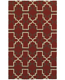 "CLOSEOUT! Tommy Bahama Home   Atrium Indoor/Outdoor 51103 Red/Brown 3'6"" x 5'6"" Area Rug"