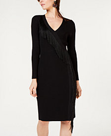 I.N.C. Fringe-Wrap Sweater Dress, Created for Macy's