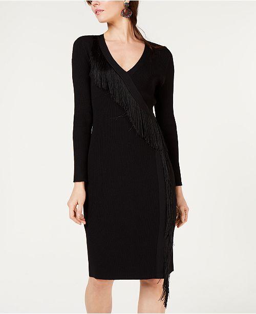 INC International Concepts I.N.C. Fringe-Wrap Sweater Dress, Created for Macy's