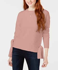 Hooked Up by IOT Juniors' Tie-Hem Sweater