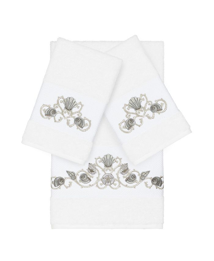 Linum Home - Bella 3-Pc. Embroidered Turkish Cotton Bath and Hand Towel Set