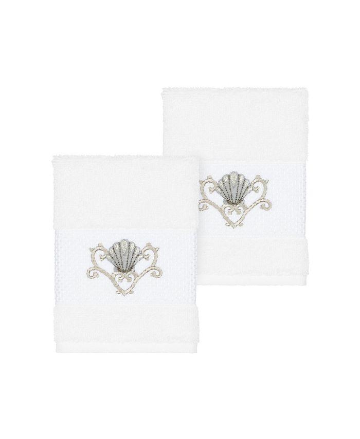 Linum Home - Bella 2-Pc. Embroidered Turkish Cotton Washcloth Set
