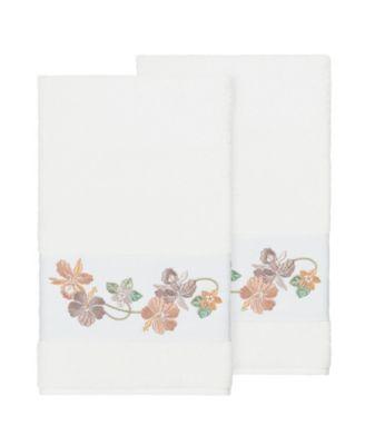 Caroline 2-Pc. Embroidered Turkish Cotton Bath Towel Set