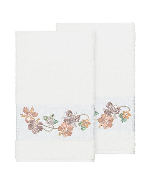 Linum Home Caroline 2-Pc. Embroidered Turkish Cotton Bath Towel Set