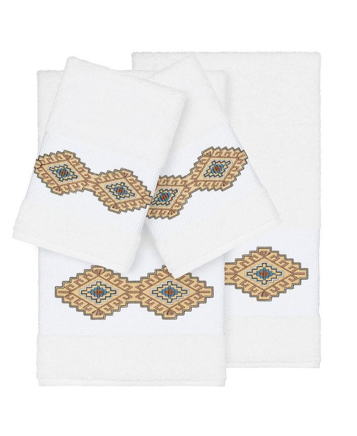 Linum Home - Gianna 4-Pc. Embroidered Turkish Cotton Bath and Hand Towel Set