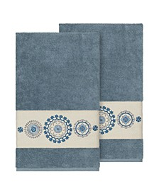 Isabelle 2-Pc. Embroidered Turkish Cotton Bath Towel Set