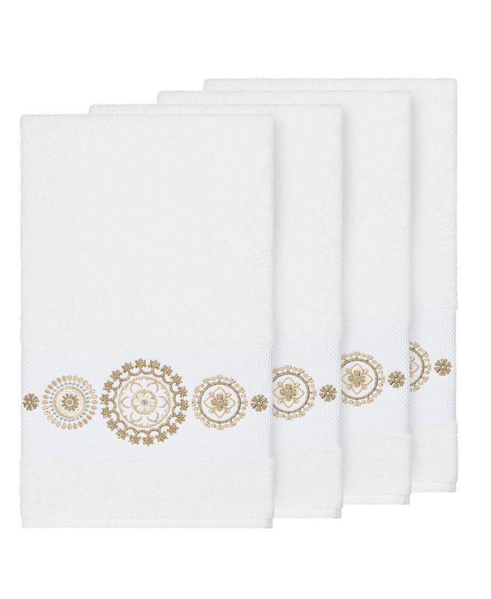 Linum Home - Isabelle 4-Pc. Embroidered Turkish Cotton Bath Towel Set