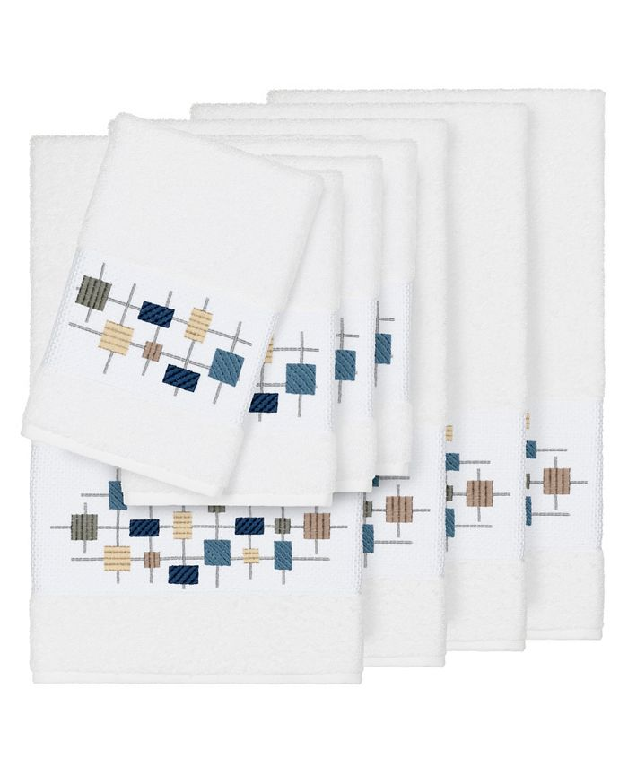 Linum Home - Khloe 8-Pc. Embroidered Turkish Cotton Bath and Hand Towel Set