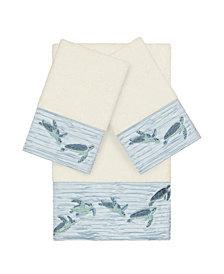 Linum Home Mia 3-Pc. Embroidered Turkish Cotton Bath and Hand Towel Set