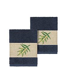 Linum Home Zoe 2-Pc. Embroidered Turkish Cotton Washcloth Set