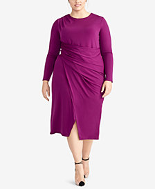 RACHEL Rachel Roy Trendy Plus Size Ruched Midi Jersey Dress