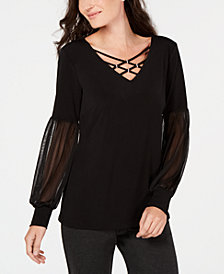 JM Collection Embellished Chiffon-Sleeve Top, Created for Macy's