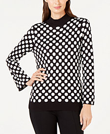 Alfani Dot-Print Mock-Neck Sweater, Created for Macy's