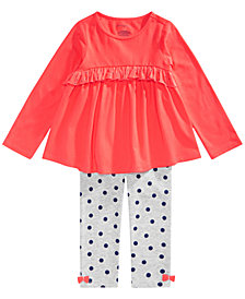 First Impressions Baby Girls Ruffled Tunic & Dot-Print Leggings Separates, Created for Macy's