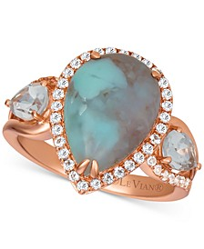 Sky Aquaprase (14 x 10mm) & White Topaz (1-1/5 ct. t.w.) Ring in 14k Rose Gold