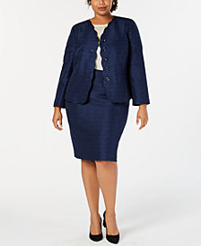 Le Suit Plus Size Scalloped-Detail Skirt Suit
