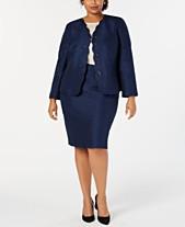 f83f29152ba Le Suit Plus Size Scalloped-Detail Skirt Suit