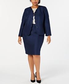 Le Suit Plus Size Scalloped-Detail Skirt Suit