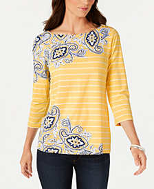 Charter Club Petite Mixed-Print Boat-Neck Top, Created for Macy's
