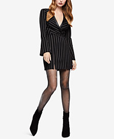 BCBGeneration Striped Faux-Leather-Trim Dress