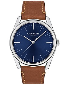 COACH Men's Preston Brown Leather Strap Watch 41mm