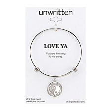 "Unwritten ""You Are the Ying to My Yang"" Charm Bangle Bracelet, 8"" Length, 2.25"" Diameter"