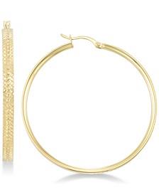 Textured Hoop Earrings in 18k Gold over Sterling Silver