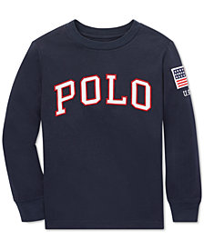 Polo Ralph Lauren Little Boys Logo Graphic Long-Sleeve Cotton T-Shirt