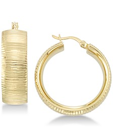 Textured Hoop Earrings in 18k Gold over Sterling Silver or Sterling Silver
