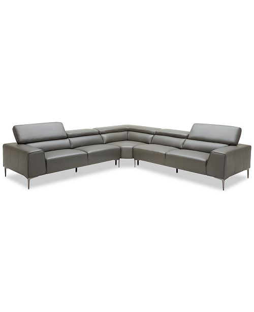 "Furniture Mossley 129"" 3-Piece Leather ""L"" Sectional Sofa"