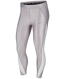 Nike Speed Power Colorblocked Metallic Ankle Running Leggings