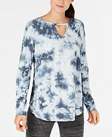 Calvin Klein Performance Comet Tie-Dyed Keyhole Top