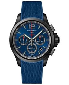 Men's Swiss Chronograph Conquest V.H.P. Blue Rubber Strap Watch 42mm