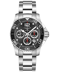 Longines Men's Swiss Automatic Chronograph HydroConquest Stainless Steel and Ceramic Bracelet Watch 41mm