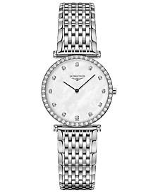 Longines Women's Swiss La Grande Classique de Longines Diamond (3/8 ct. t.w.) Stainless Steel Bracelet Watch 29mm