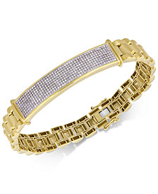 Men's Diamond Pavé Link Bracelet (1 ct. t.w.) in 18k Gold-Plated Sterling Silver