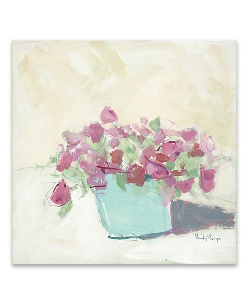"""Artissimo Designs Pink In Blue Pot Hand Embellished Canvas Art - 30"""" W x 30"""" H x 1.5"""" D"""