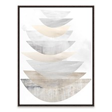Layer Stack Grey Framed Printed Canvas