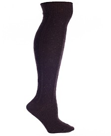 Brown Wool Speckled Knee High Boot Socks