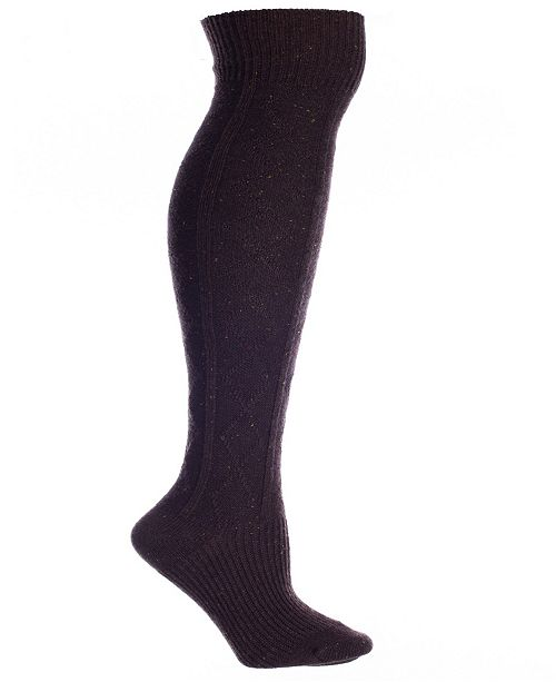 MinxNY Brown Wool Speckled Knee High Boot Socks