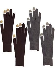 2 Pair Pack Touch Screen Glow In The Dark Tip Micro-Velvet Gloves